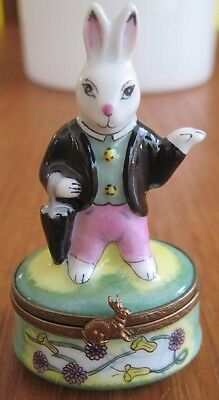 Peint Main Limoges France Trinket Box Hare Bunny Rabbit With Umbrella