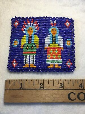 Vintage Native American Indian BEADED Leather Coin Change Purse Snap