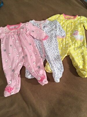 Lot Of 3 Baby Girl Sleepers Size 6 Months Sheep Cherries