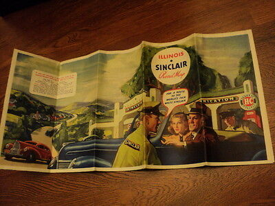 Sinclair Illinois Road Map For The New York 1939 World's Fair Great Art Work On