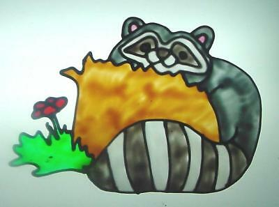 Raccoons Resting On A Tree Stump Faux Stained Glass Window Cling