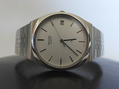 Very Rare Vintage Nos Ricoh Sleek All Stainless Steel Watch 70S Japan Mint New