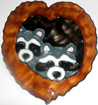 Raccoons In A Tree Faux Stained Glass Window Cling