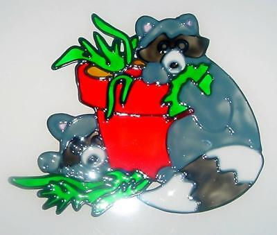 Raccoons W/Flower Pot Faux Stained Glass Window Cling