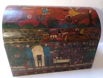 "Mexican Folk Art 17"" Wood Dowry Chest Baul Box Colonial Furniture Village"