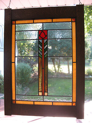 Prairie/craftsman Style Stained Glass Window In Oak Frame