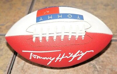 "TOMMY HILFIGER RARE PROMOTIONAL SPELL OUT FOOTBALL Red White Blue 9"" JEANS PROMO"