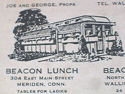 Vintage Business Card -- Beacon Lunch & Beacon Diner -- Connecticut