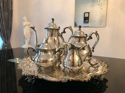 Vintage Wilcox Joanne 5pc Silverplated Coffee and Tea Set.