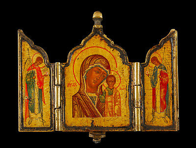 Antique Russian Painted Bronze Icon
