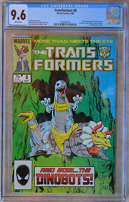 TRANSFORMERS #8 (1985) CGC 9.6 (NM+) White Pages 1st Appearance of the Dinobots