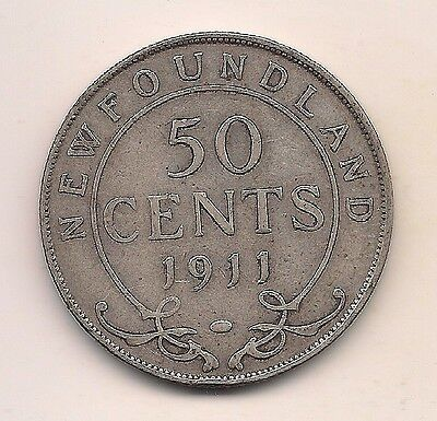 1911  Newfoundland Silver Fifty Cent----Strong Details !!
