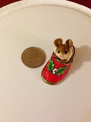 Wee Forest Folk Mouse in Christmas slipper, no box