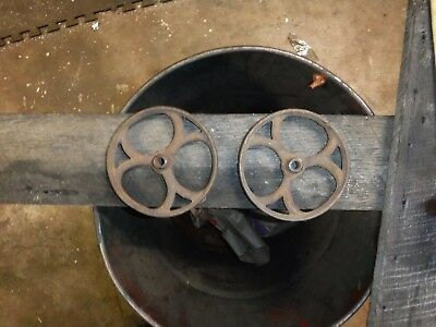 "Pair Antique Cast Iron Wheels 4 1/2"" hit miss Stationary engine Cast Iron  Rare"