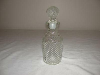 Clear Glass Diamond Cut Cruet & Stopper With Plastic Guard Avon
