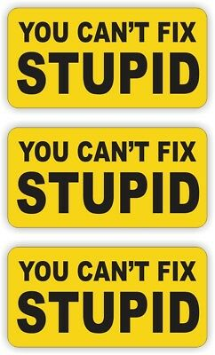 (3) You Cant Fix Stupid Hard Hat Helmet Decals / Stickers Vinyl Labels / Foreman