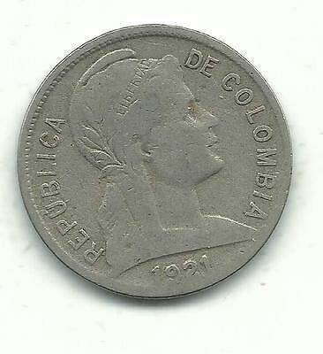 Very Nicely Detailed High Grade 1921 Colombia Two (2) Centavo Coin-Jan995