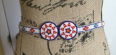 Native American Bead Design Belt Women With leather Embellishment
