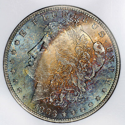 1883-O MS63 Morgan Silver Dollar $1 graded by NGC, Colorfully Blue Toned