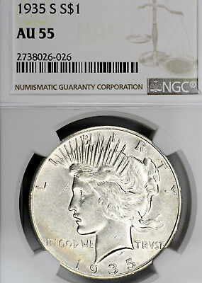 1935-S AU55 Peace Silver Dollar $1, NGC Graded as About Uncirculated