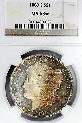 1880-S MS63 STAR Morgan Silver Dollar $1, NGC Graded, Strong PL Obverse & Toned!