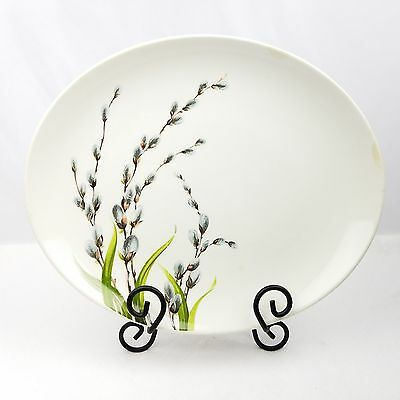 """W.S. George Vintage Pussy Willow Oval Platter 13 1/4"""" x 11"""" White Willows Grass"""