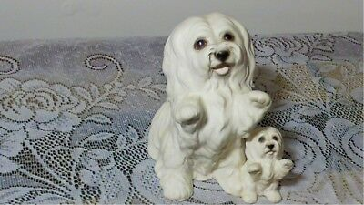 """Maltese Ceramic Figurine MOM and Baby 6.5"""" H. X  5"""" W. NUMBERED H597A83"""