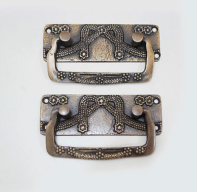 "3.50"" Inches 2 pcs Vintage Victorian Rectangular Solid Brass Cabinet Handle Pull"