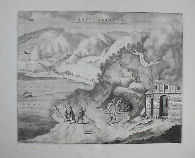 1700 Lago Agnano Napoli Neapel acquaforte Kupferstich engraving map Mortier
