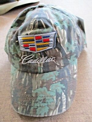 NWT Cadillac Embroidered Logo Cammo Behlmann GM Official Truckers Baseball Hat