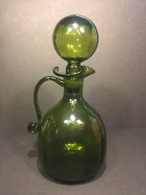 "Large 11"" Avocado Green Hand Blown Glass Decanter w/ Ball Bubble Stopper"