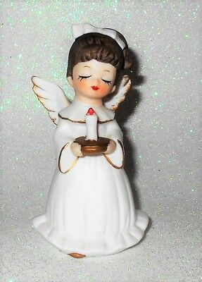"""Vintage  Angel Holding Candle All White Gold Trim 3.75"""""""