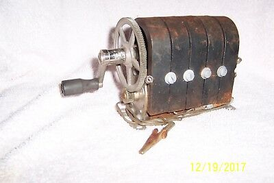 Antique HAND-CRANKED 5-Bar Wall Telephone Magneto Generator ~ UNTESTED