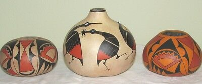 Three Robert Rivera Painted Gourd Pots