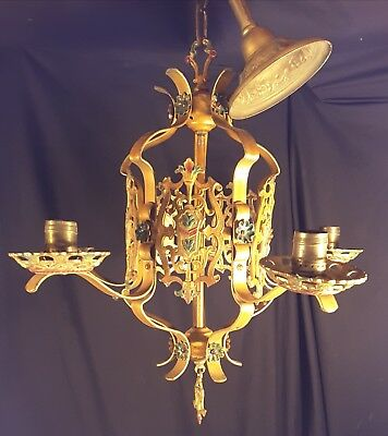 Antique Vintage 1920's CAST IRON Art Deco Ceiling Light FIxture Chandelier