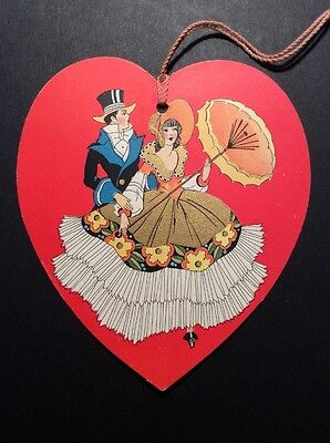 Vintage Art Deco Bridge Tally Valentine Heart Couple-Victorian Style 1930's