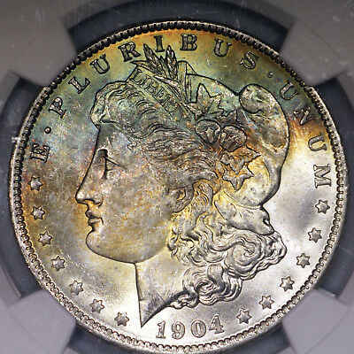 Colorfully Toned 1904-O MS64 Morgan Silver Dollar $1 graded by NGC!!