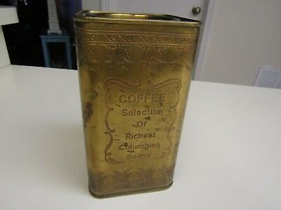 Rare Vintage Brass Engraved Rectangular Coffee Tin Canister