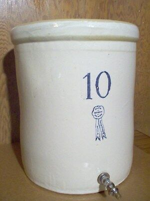 Rare Blue Ribbon Buckeye Pottery Co. 10 Gal Water cooler Crock