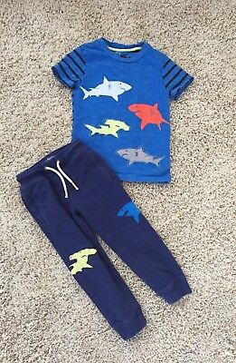 Mini Boden Boys Shark Shirt And Sweatpants. Size 4-5 Years.