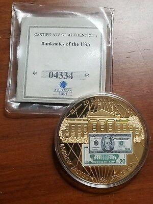 2004 Banknotes of the USA Andrew Jackson $20 Proof Coin w/ COA & OGP 04334