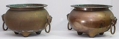 Vintage Pair Chinese Lion Foo Dog Three Footed Brass Incense Burners Bowls Pots