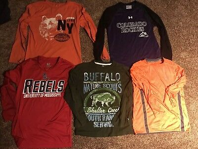 Mixed lot of 5 long sleeve T-shirts, Dry fit boys clothes (Size 8 - 10) M