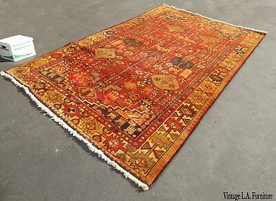 Large Vintage Rectangle Geometric Pattern Red & Orange Turkish Area Rug