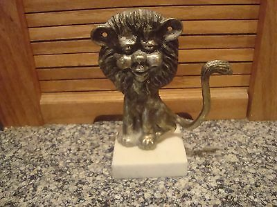 Vintage Brass Bronze Lion Figurine Italian Marble Base Italy Sculpture