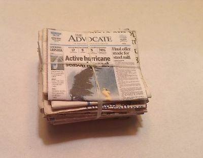 Miniature Dollhouse Newspaper Recycling Stack of Papers 1:12 Scale Room Box