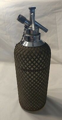 Vintage Sparklets Seltzer Syphon Wire Mesh Glass Bottle Made In Czechoslovakis.
