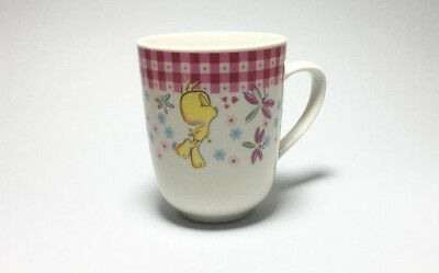 GIBSON Tweety Bird Mug Tea Cup Blowing Heart Kisses Dragonfly White and Pink
