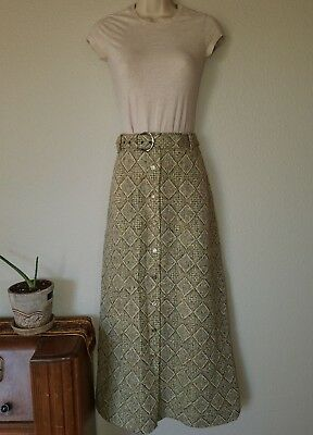 Vintage '70s Miss Holly Womens Wool Skirt W/Belt Maxi Buttoned Checkered Size 12