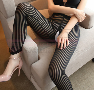 Lady Striped Transparent Trousers Pants Sheer Skinny Fitness Leggings Zip Crotch